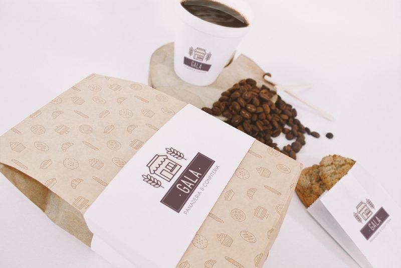 Gala panadería confitería packaging bolsas café facturas diseño gráfico
