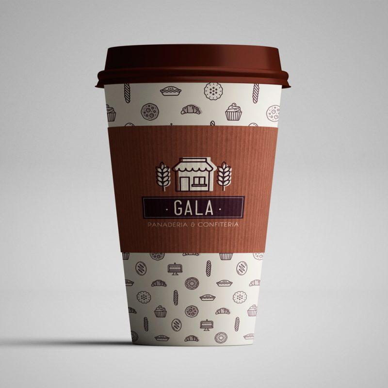 Gala panadería confitería packaging vaso café diseño gráfico