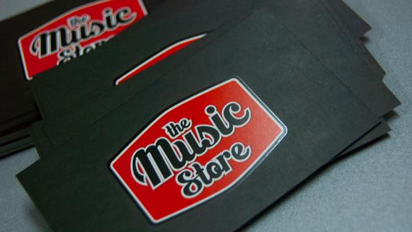 The music store papelería tarjetas diseño gráfico