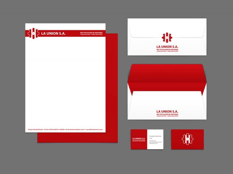 La Union Rectificación de Motores tarjetas carpetas hojas a4 sobres diseño gráfico