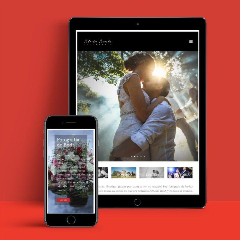 Adrian Acosta fotografía sitio web teléfono tablet diseño web