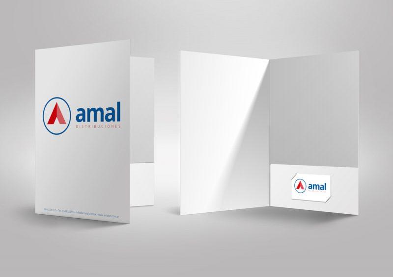 Amal distribuciones papelería carpetas tarjetas diseño gráfico