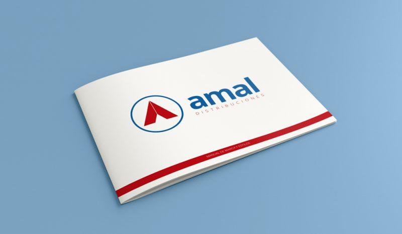 Amal distribuciones manual de marca tapa diseño gráfico