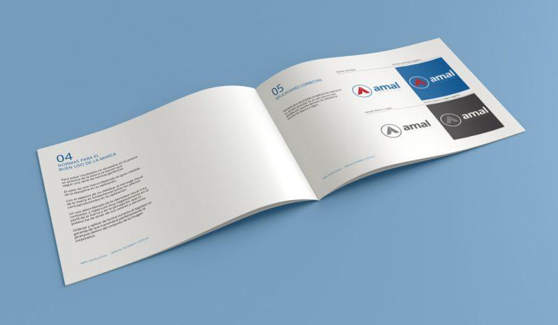 Amal distribuciones manual de marca interior diseño gráfico