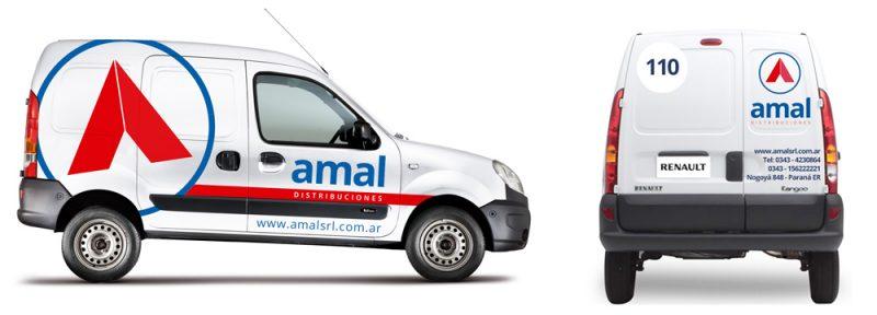 Amal distribuciones ploteo camioneta diseño gráfico