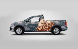 Weekend Store ploteo camioneta diseño gráfico