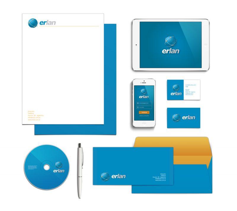 ERLAN empresa de internet identidad papeleria web sobre tarjeta diseño gráfico