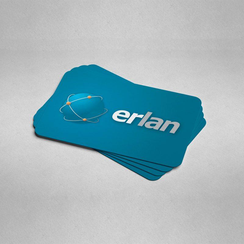 ERLAN empresa de internet logo tarjetas diseño gráfico
