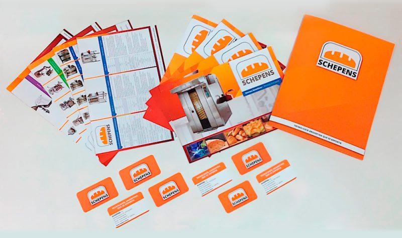 Schepens srl papelería tarjetas folletos diseño gráfico