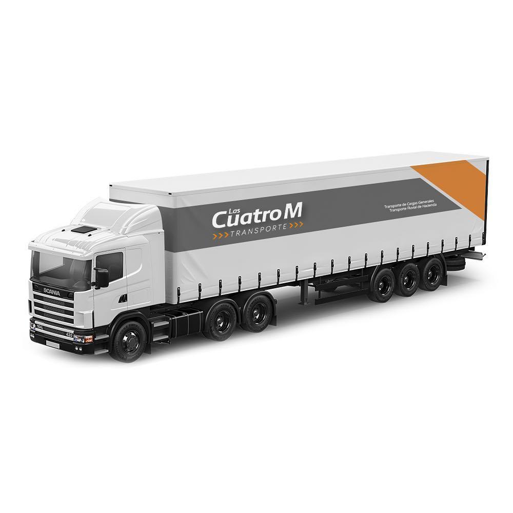 Transporte las Cuatro M ploteado vehicular diseño gráfico
