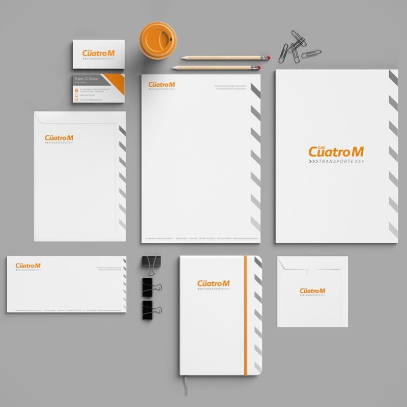 Transporte las Cuatro M papelería tarjetas, carpetas, hojas A4, diseño gráfico