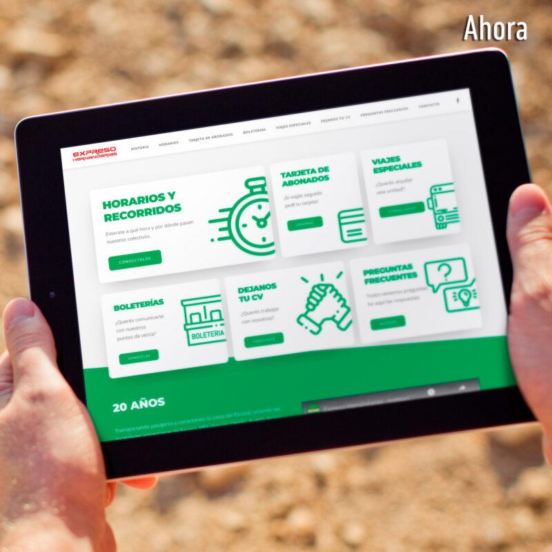 expreso hernandarias nueva web versión tablet ipad
