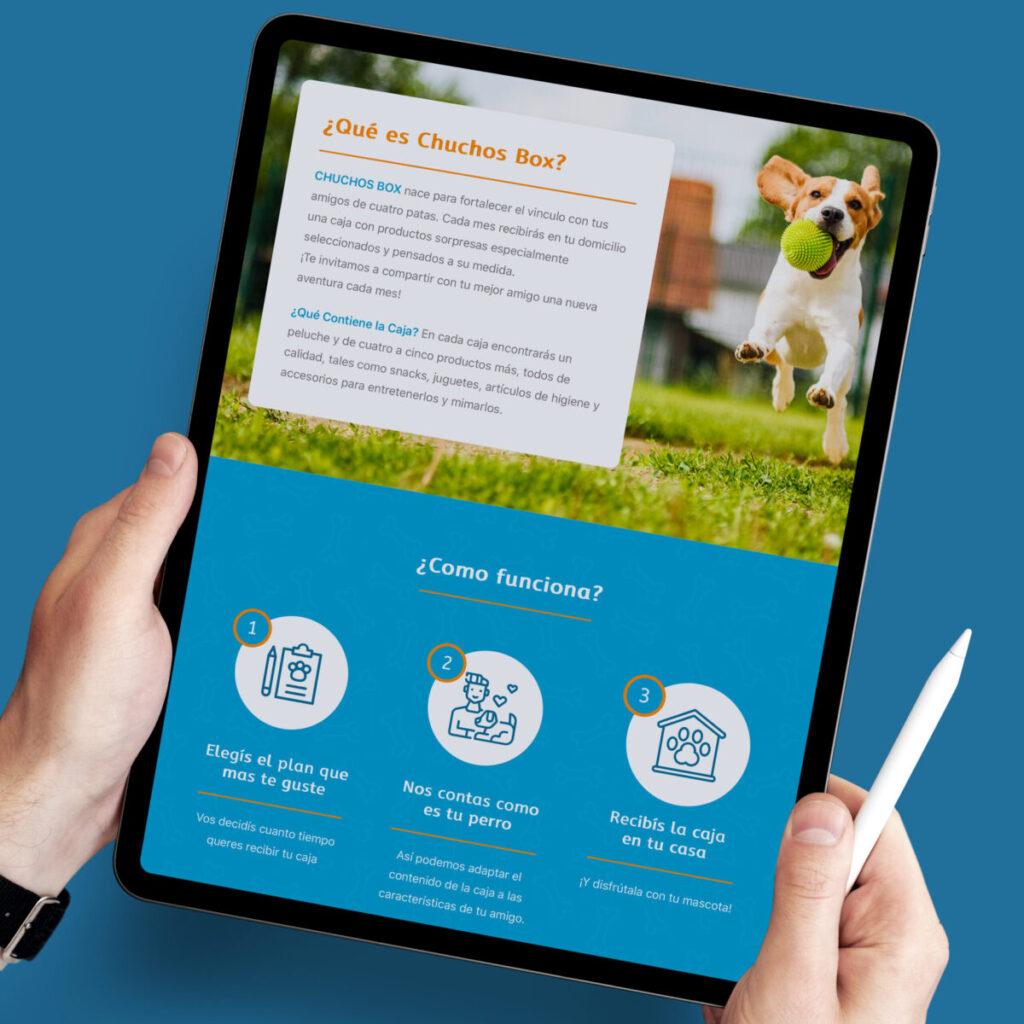 Chuchos Box diseño de página web con sistema de compras online versión tablet ipad